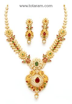 22K Gold Necklace & Drop Earrings Set with Ruby, Emerald , Cz & South Sea Pearls: Totaram Jewelers: Buy Indian Gold jewelry & 18K Diamond jewelry