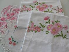 Pineapple House Antiques ~ Vintage Embroidered Floral Pillowcases!