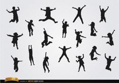 Kids silhouettes jumping vector pack Vector   Free Download