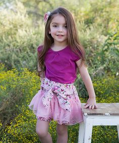 Pink Floral Ruffle Bow Shorts - Infant, Toddler & Girls by Little Miss Fairytale #zulily #zulilyfinds