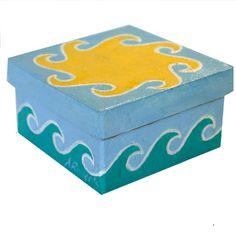 Sun and Sea Beach Jewelry Gift Box Hand Painted by annarobertsart