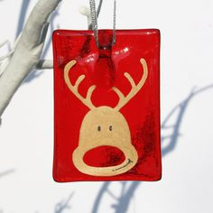 Fused Glass Smiling Rudolf - Handmade Christmas Decoration  I just love Christmas and especially Christmas decorations! I try and buy 1 new unique