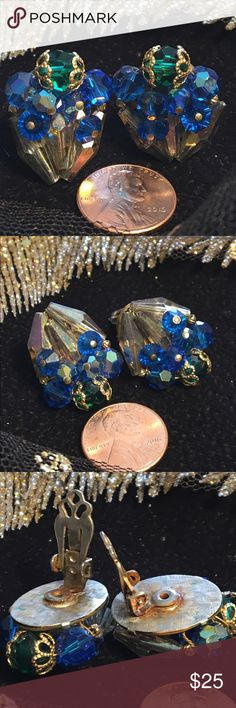 Rare Vintage Cluster Clip Earrings Brightest blues and greens Aurora Borealis and faceted glass beads on silver tone clip back. Discoloration on back shown in photo Vintage Jewelry Earrings
