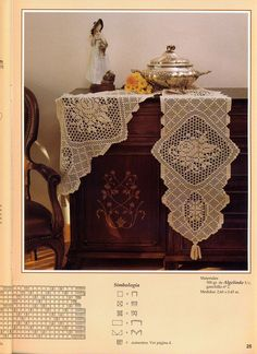 Kira scheme crochet: Scheme crochet no. Filet Crochet Charts, Crochet Stitches Patterns, Crochet Designs, Stitch Patterns, Crochet Tablecloth, Crochet Doilies, Crochet Home, Easy Crochet, Handmade Crafts