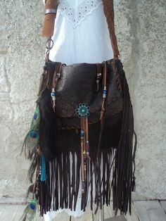 Handmade Brown Leather Boho Bag Hippie Western Fringe Cross Body Purse tmyers #Handmade #MessengerCrossBody
