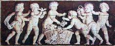 Greek - Roman Urn Design on Tumbled Marble Tile Mural, custom printed on tile from scanned artwork, #tilemural by Custom Tiles, LLC   custom-tiles.com
