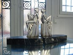1930's art deco book ends. Guerbe / Lefaguays