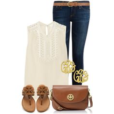 """Sleeveless Saturday"" by qtpiekelso on Polyvore.  I love this look but it feels awfully sorority girl to me.  It's the monogram + the Tory Burch.  It's too much."