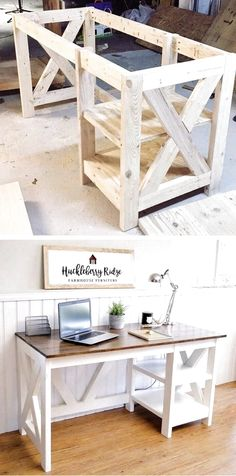 14 Woodworking Items that Sell DIY Farmhouse Desk plans that will make your home office pop! Need an office farmhouse desk to spice up the home office? Look no more! These Farmhouse Desk Plans will make your home office come to life. Woodworking Desk Plans, Unique Woodworking, Easy Woodworking Projects, Woodworking Furniture, Diy Wood Projects, Furniture Projects, Furniture Plans, Diy Furniture, Woodworking Classes