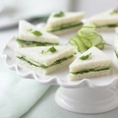 These are the cucumber sandwiches that I would have in mind for this play.  Apparently this goes well with afternoon tea.  Plus, it looks fancy, and the people in this play are supposed to be rich.