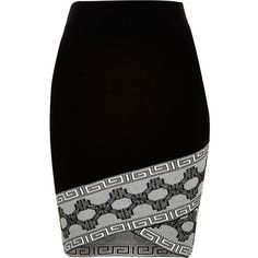 River Island Black knitted patterned hem pencil skirt AUD) ❤ liked on… Printed Pencil Skirt, Printed Skirts, Pencil Skirts, Skirt Outfits, Dress Skirt, Fitted Skirt, Clothes For Women In 30's, Black Pattern, Black Knit