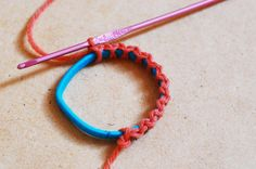 You'll need some yarn, a C crochet hook and an elastic hair band. You can buy a bunch of 20 hair bands at the $store. You can also use emb...