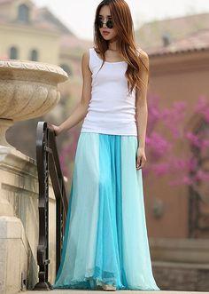 Blue Chiffon skirt woman maxi skirt patchwork long by xiaolizi