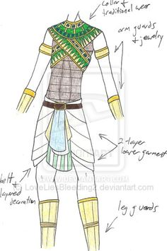 ToKcd - Battle Cry by on DeviantArt Egyptian Fashion, Egyptian Art, Fashion Design Drawings, Fashion Sketches, Manga Characters, Fantasy Characters, Character Outfits, Character Art, Map Symbols