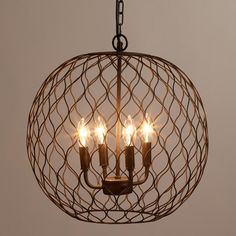 Dark Bronze Globe Farmhouse Chandelier