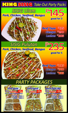 """King Sisig Party Packs All our sisig meals are served hot, fast and have enough kick to  """" fire"""" up the palate with our 5 Anghang Meter Levels- Mild, Medium, Hot, Extra Hot and Super Hot- that considers your spiciness tolerance."""