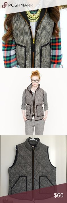 """J.Crew Factory Quilted Puffer Vest Puffer Vest. Down-filled poly. Standing collar. Zip closure with patch pockets with hidden snap closure. Black and white herringbone pattern. 23.5"""" shoulder to hem (front), 25"""" (back). Machine wash. Gently worn. NO TRADES. J.Crew Factory Jackets & Coats Vests"""
