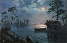 Night in August - ELOKUUN ILTA, Ellen Favorin (1852-1919) Moonlight Painting, Painters, Finland, Denmark, Norway, Discovery, Sunrise, Scenery, Night