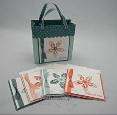 stampin up fresh cut notes with tote - no tutorial, just pic