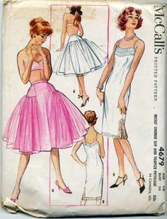1950's McCall's Printed pattern. Great 1950's, slips and petticoat, Very popular in the 1950's. Old size 16, 36 inch bust. Pattern has never been used. Mint Condition.