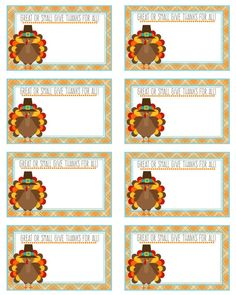 Printable Thanksgiving Place Cards  Great or by Pinkowlpartydesign