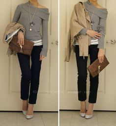 cowl neck grey sweater over skinny pants with accent necklace