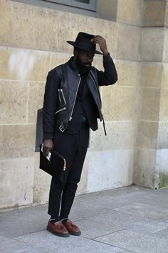 Street Style hat leather jacket beard tumblr