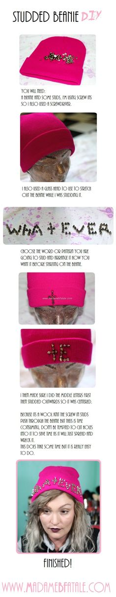 Studded Beanie DIY tutorial. Wonder if I could use a hot glue gun for the studs.  #grunge