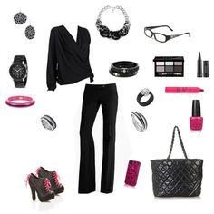 Black w/ a pop of pink - work