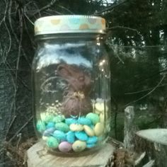 Chocolate bunny w/ M & M's in mason jar ...love the presentation! So simple, but so cute.
