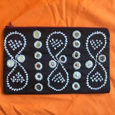 Black hand embroidered clutch mirrors beads by SaheliDesigns