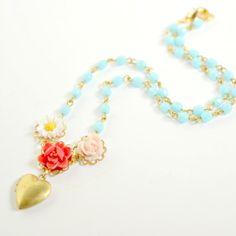 Heart Locket Flower Necklace Children by NestPrettyThingsKids