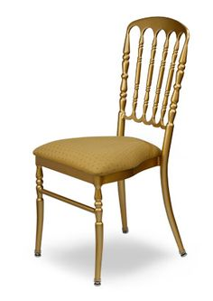 """""""Dutchess Chiavari Chair"""".  Stackable steel banquet with upholstered web seat. A perfect addition to any banquet center.  Please contact us for pricing (718)363-3097."""