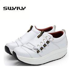 8241ea03bef81 5.5CM Thick Soles Women Toning Shoes Proljeće Jesen Wedge Platforma Gubitak  težine Slimming tenisice Kožne čarape Swing Shoes