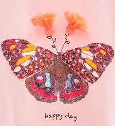 Image 5 of Pompoms and butterfly T-shirt from Zara