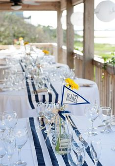 Spot on for a Cape Cod beach wedding. Spot for a Cape Cod beach wedding. Nautical Bridal Showers, Nautical Wedding Theme, Wedding Themes, Wedding Favors, Wedding Ideas, Yacht Wedding, Beach Wedding Reception, Beach Wedding Decorations, Wedding Navy
