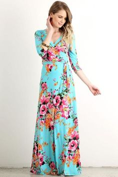 - Exotic Floral Maxi Wrap Dress   Now Sourced and Sewn in the USA   96% Polyester and 4% Spandex   Non sheer.