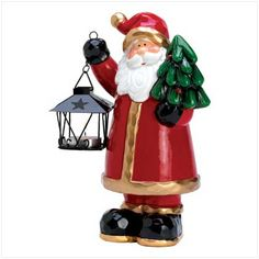 "item:14424) Available Homespun Santa Holding Mini Lantern Father Christmas takes on a charming country appeal in this adorable figurine! Dual-duty decoration is colorful statue to delight in the daytime; when the evening comes, the tealight inside his handheld lantern sheds a cherry golden glow. Weight 1.8 lbs. 7 1/4"" x 6"" x 10 1/2"" high; lantern: 2 3/4"" square x 4"" high. Ceramic and metal. Tealight not included. $19.95"
