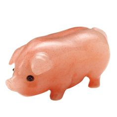 This little piggy kicks ass. FABERGÉ Pink Eosite Carved Pig Eosite carving of a sow with cabochon ruby eyes.