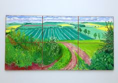 David Hockney - The road to Thwing, late spring. David Hockney Landscapes, David Hockney Paintings, Painting Wallpaper, Outdoor Art, Art Plastique, Cool Artwork, Painting Inspiration, Amazing Art, Landscape Paintings
