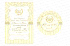 Kit digital para imprimir Realeza/ Coroa de Princesa - Amarelo, pérola e Dourado - Charme Papeteria