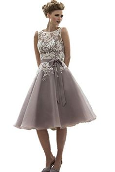 LuckyHouses Backless Women's Knee Length Bridesmaid Party Prom Dress Plus Size (2, Ivory-Grey) LuckyHouses http://smile.amazon.com/dp/B01ALHZ44I/ref=cm_sw_r_pi_dp_D7R7wb043TQ8K