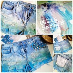OMBRE SHORTS tęcza ćwieki koronki spodenki jeans!!   Ocean Breeze shorts