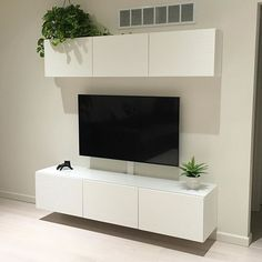 ideas for ikea wall storage unit entertainment center Ikea Living Room Storage, Living Room Tv, Wall Storage, Ikea Floating Cabinet, Ikea Entertainment Center, Ikea Wall, Muebles Living, Sweet Home, Repurposed Furniture