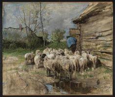 Anton Mauve (Dutch1838-1888) Entering the Fold