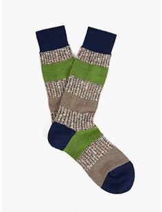 Ayame Men's Green/Navy Springing Stripe Socks   oki-ni