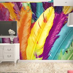 Hot selling!European modern style 3d wallpaper 3d Colored feather design Mural TV background Beautiful feather3d papel de parede
