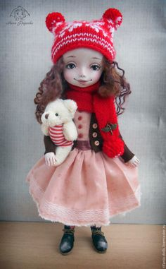 Купить Мила - ярко-красный, милое, коллекционная кукла, ручная работа, оригинальный подарок