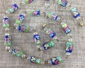 Stunning Vintage Estate Floral Iridescent Glass Beaded Necklace