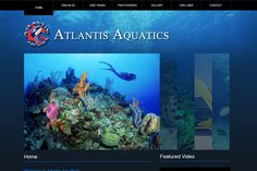 """Scuba Gear & Training Web Design - GrowIt Media Design AtlantisAquatics.net is a website showcasing the scuba training courses provided by Atlantis Aquatics and features a """"Dive Blog"""" with pictures and information on recent dives. There is aphoto gallery as well as a video gallery. We also build other sports related websites for snow sports, boating, skating, archery, and more. Check out the site for an example of scuba website design."""